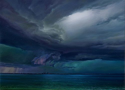 Rainclouds sit over Poolbeg by Sergey  Talichkin