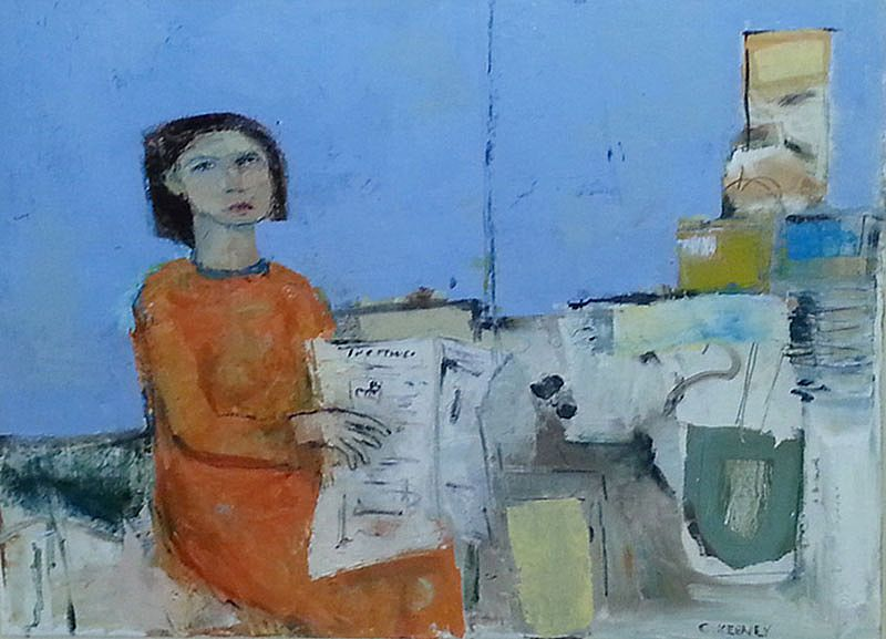 Woman with Newspaper by Christy Keeney